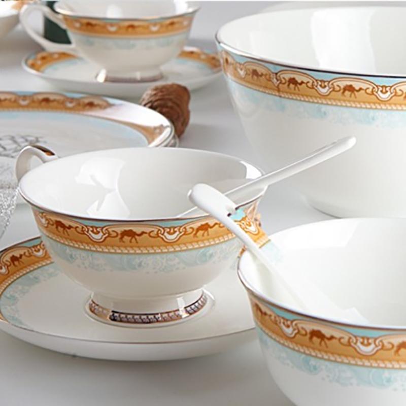【盛世唐韵】 骨质瓷餐具 丝路盛宴32头餐具套装 加赠咖啡勺    TY-0032/TY-0034P/TY-0046