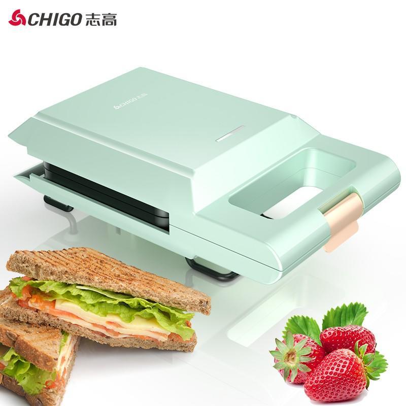 【志高】(CHIGO)三明治机早餐机轻食机家用华夫饼机可拆洗双面加热电饼铛压烤机面包机 ZG-BC301