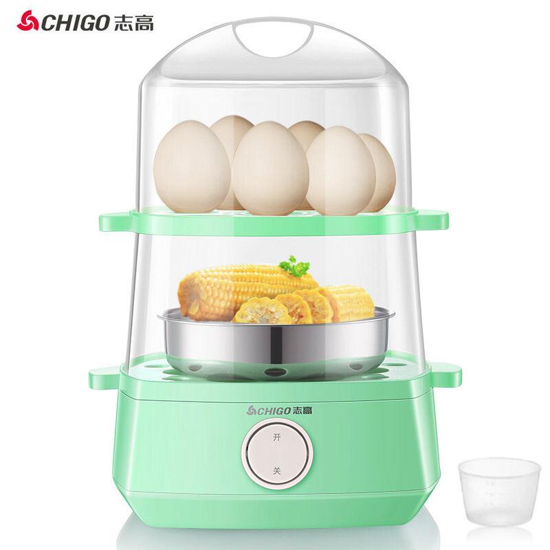 【志高】(CHIGO)煮蛋器双层家用蒸蛋器防干烧早餐机蒸蛋机可煮16个蛋配304不锈钢蒸碗 ZDQ203