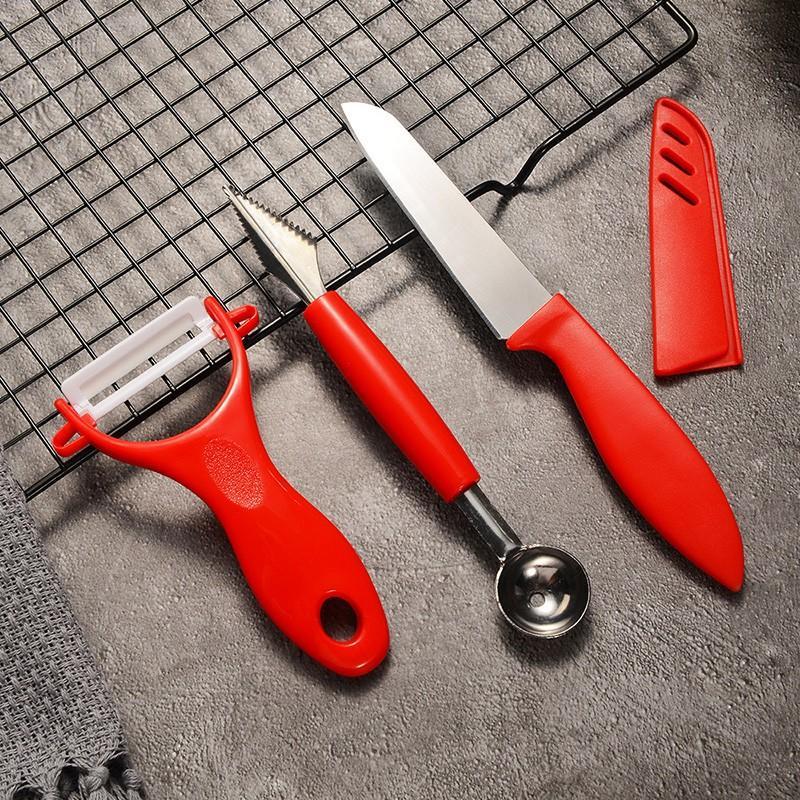 【四喜悠品】厨房刀具三件套雕花师雕花刀刨皮刀水果刀 ST-112