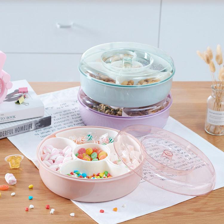 水果盘  糖果盘多功能家用零食干果盘分格带盖