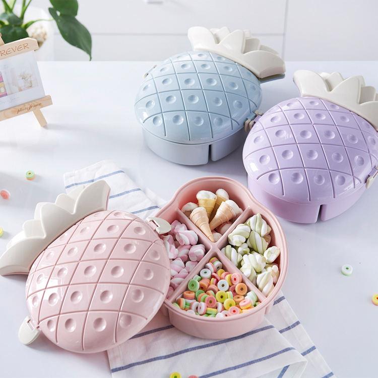 水果形状糖果盒 分格带盖干果盘 可爱家居时尚干果盒
