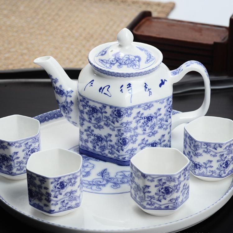 【盛世唐韵】唐韵骨瓷六方春露茶具套装茶壶茶杯TY-0106M