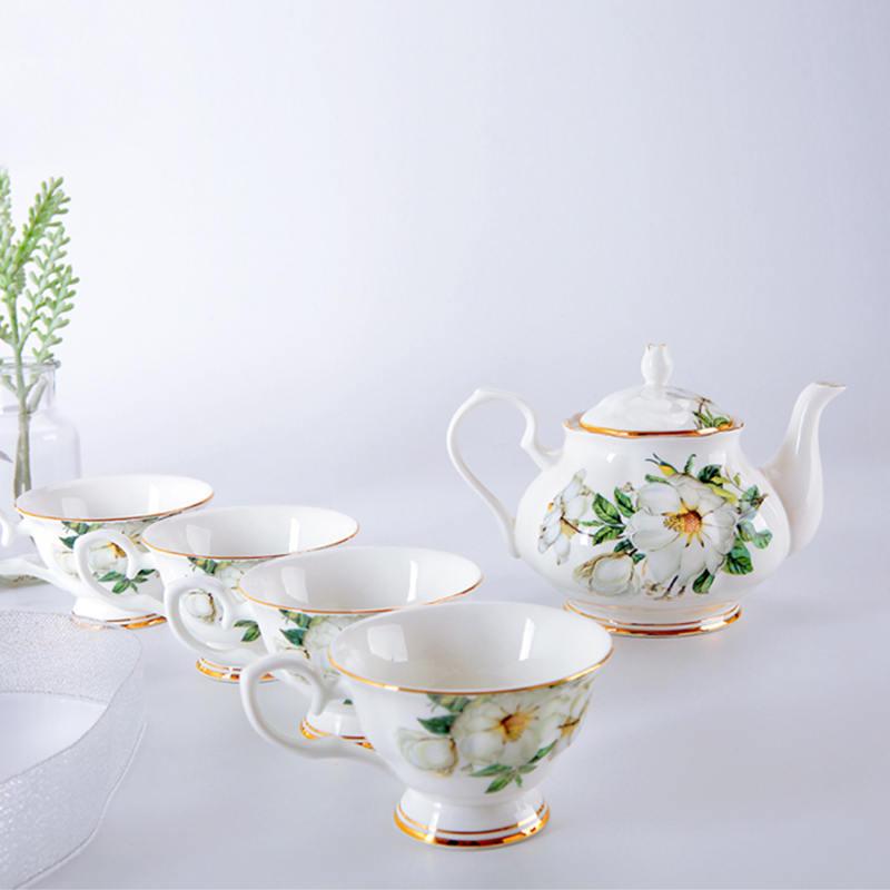 【盛世唐韵】骨质瓷木棉花咖啡具咖啡壶咖啡杯套装TY-0311L