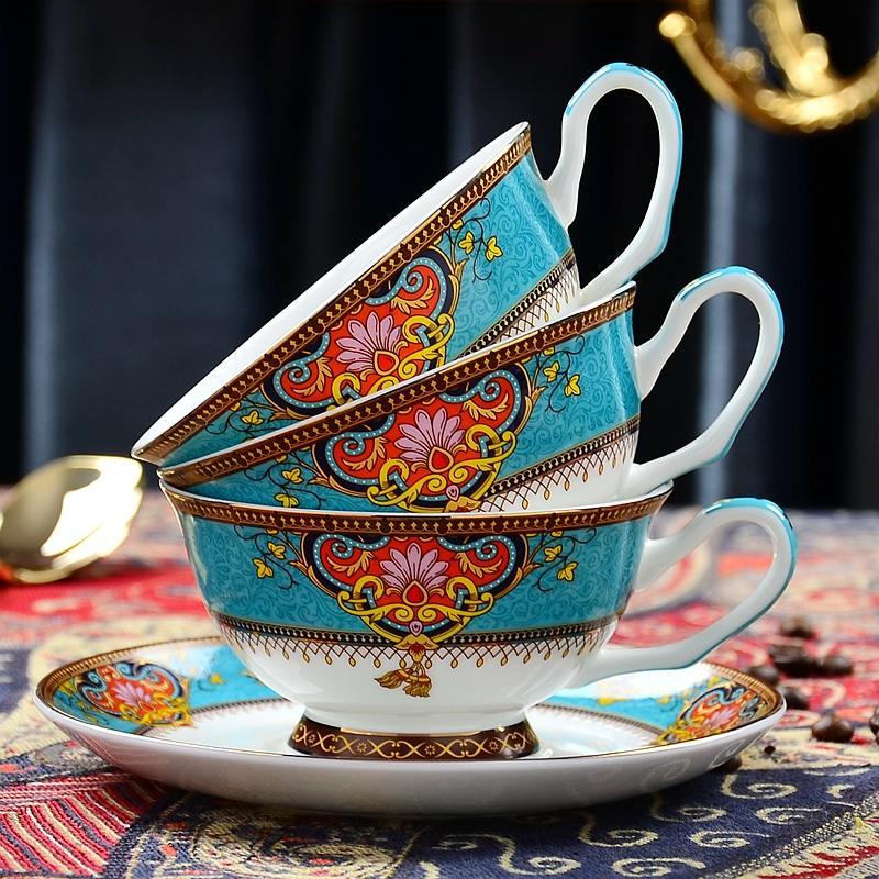 【盛世唐韵】欧式骨瓷曼谷风情咖啡杯套装下午茶茶具TY-0321