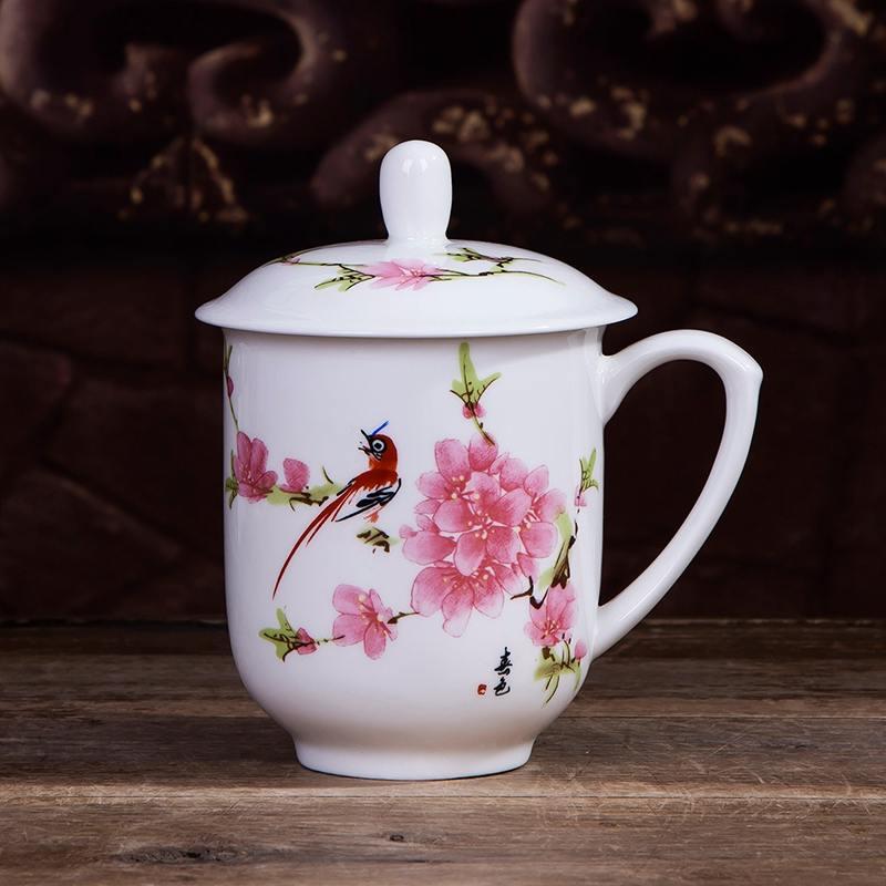 【盛世唐韵】骨质瓷茶杯水杯万雪千山水点桃花茶杯TY-0401/TY-0402