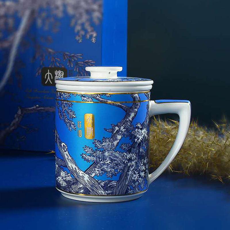 【盛世唐韵】大树庄园国潮茶漏杯陶瓷马克杯茶杯 TY-0483L