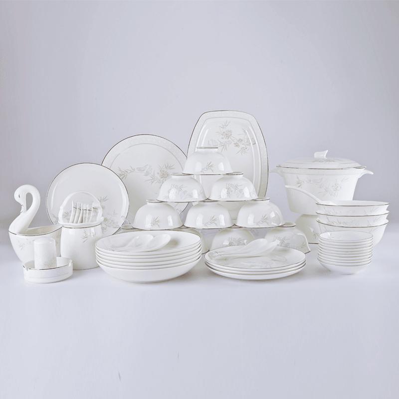 【盛世唐韵】骨质瓷餐具套装鸟语花香碗盘组合TY-0052