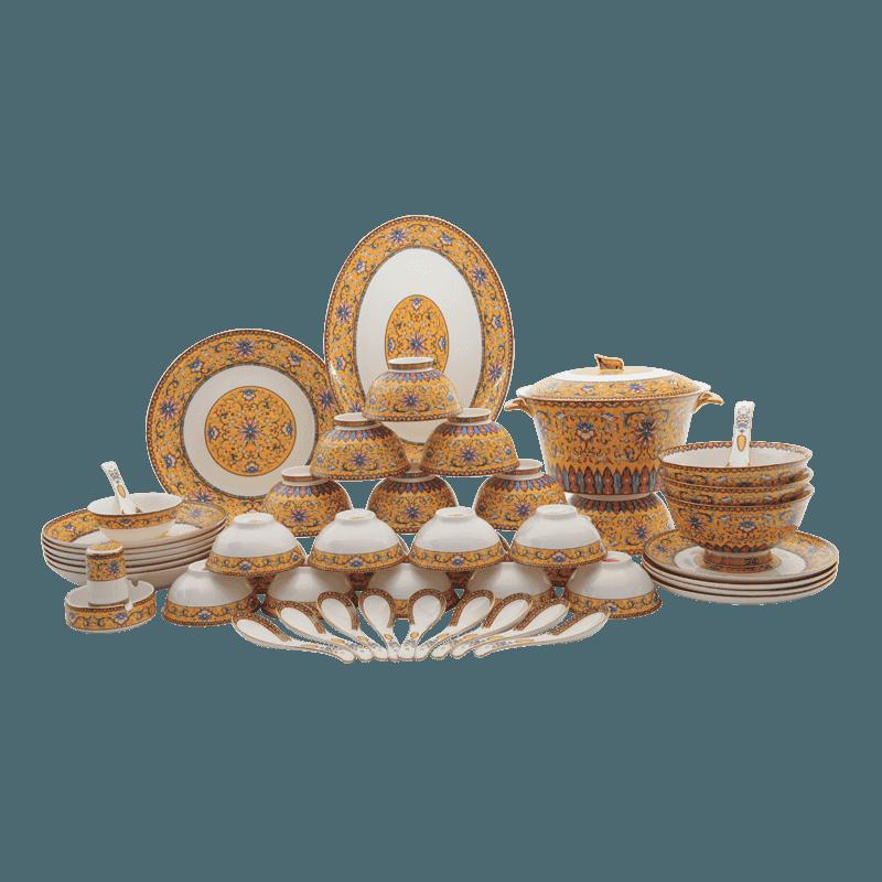 【盛世唐韵】骨质瓷餐具套装珐琅彩碗盘组合TY-0050