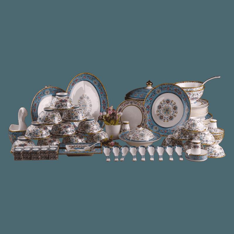【盛世唐韵】骨质瓷餐具套装珐琅彩国宴碗盘组合TY-0075