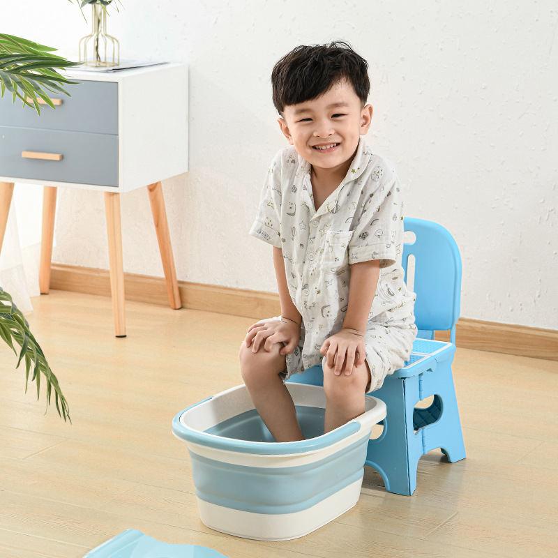 可折叠泡脚盆儿童塑料泡脚桶成人过小腿洗脚盆家用带盖按摩足浴盆