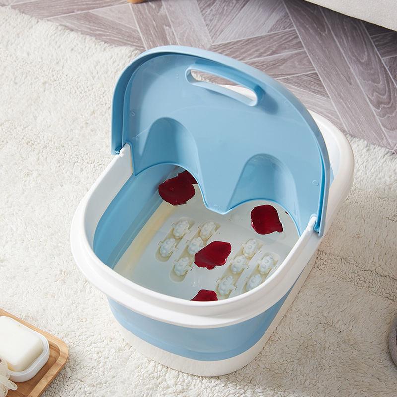 折叠泡脚桶便携式泡脚盆加厚塑料可折叠洗脚盆按摩家用折叠洗脚桶