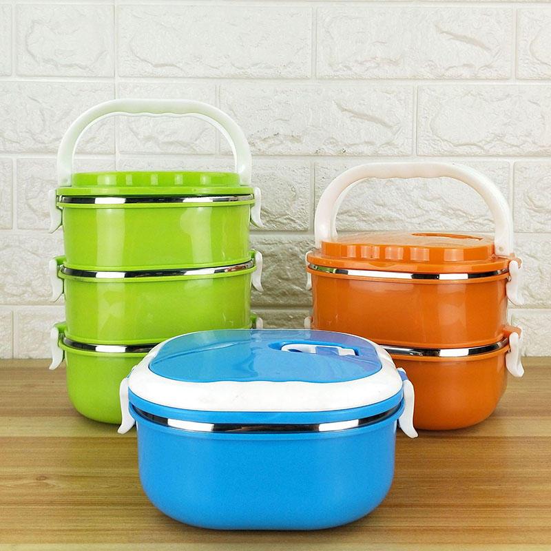 锈钢方形饭盒双层保温便当盒彩色多层餐盒