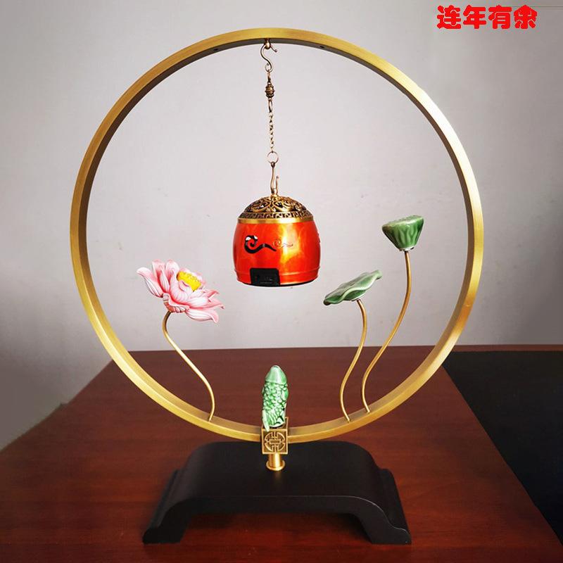 【千艺坊】纯铜香炉摆件家用室内悬挂蓝牙音乐连年有余/花开富贵