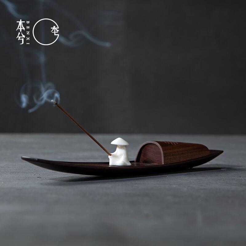 【物宜本兮】孤舟泛音品香播放器渔翁小船蓝牙音乐香炉