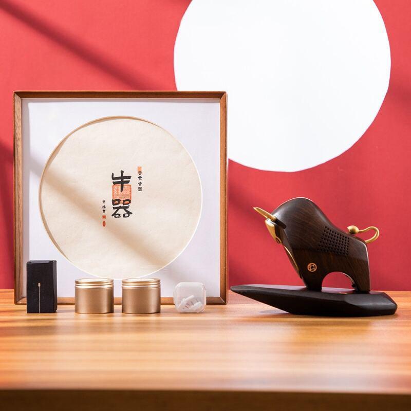 【物宜本兮】牛器禅音摆件黑檀木雕刻音乐香器茶室香炉香器