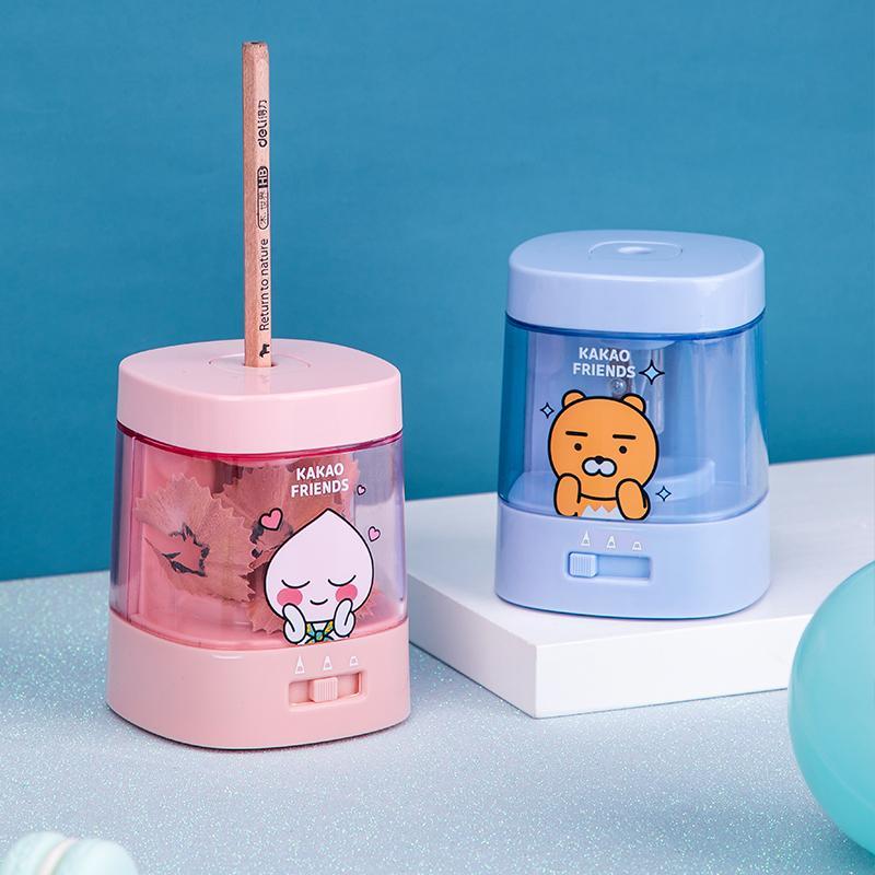 【得力】电动卷笔刀儿童自动绞笔刀卡通文具刨笔机68658