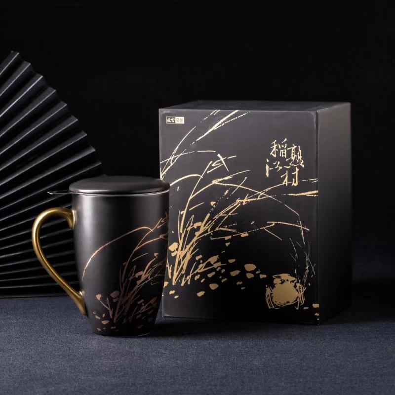 【故宫文创】 茶滤杯故宫名画带盖马克杯稻熟江村磨砂水杯