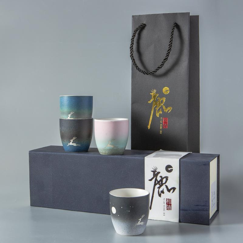 【古时候】瓷器祝贺系列个性磨砂釉面主人杯子伴手礼盒套装G67