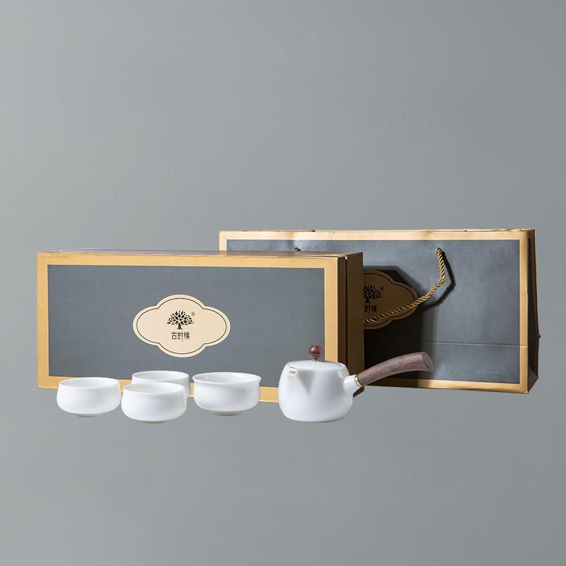 【古时候】四海一家瓷器高温窑烧浮雕白瓷功夫茶具套装G23