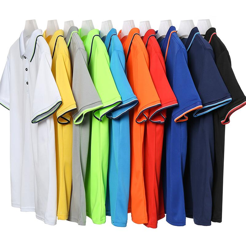 小领速干拼色短袖翻领T恤POLO衫工作衣服广告衫HM-0120