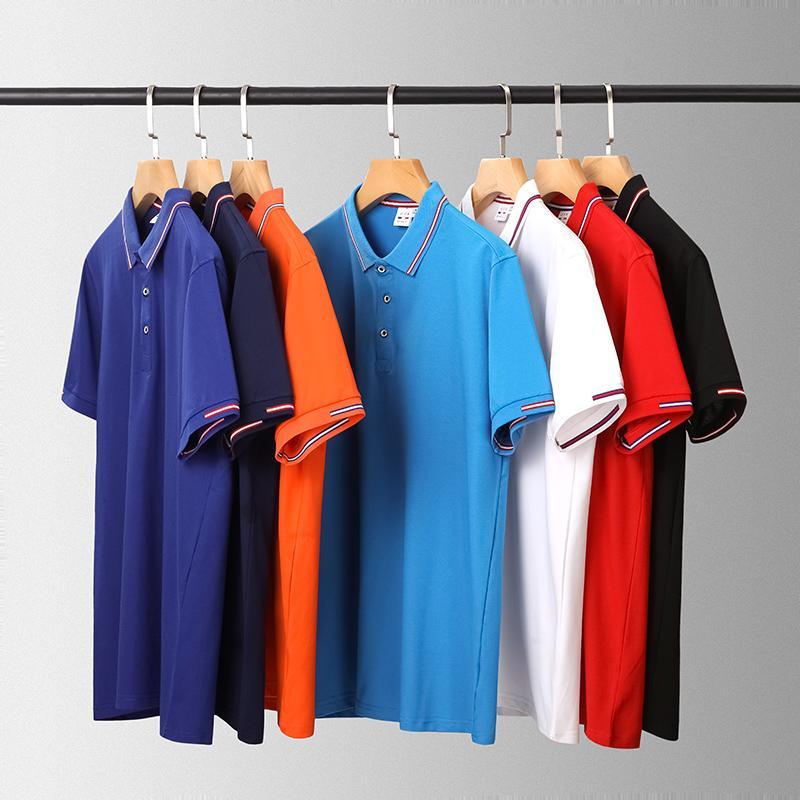 夹心彩条领短袖翻领T恤POLO衫工作衣服广告衫文化衫HM-2105