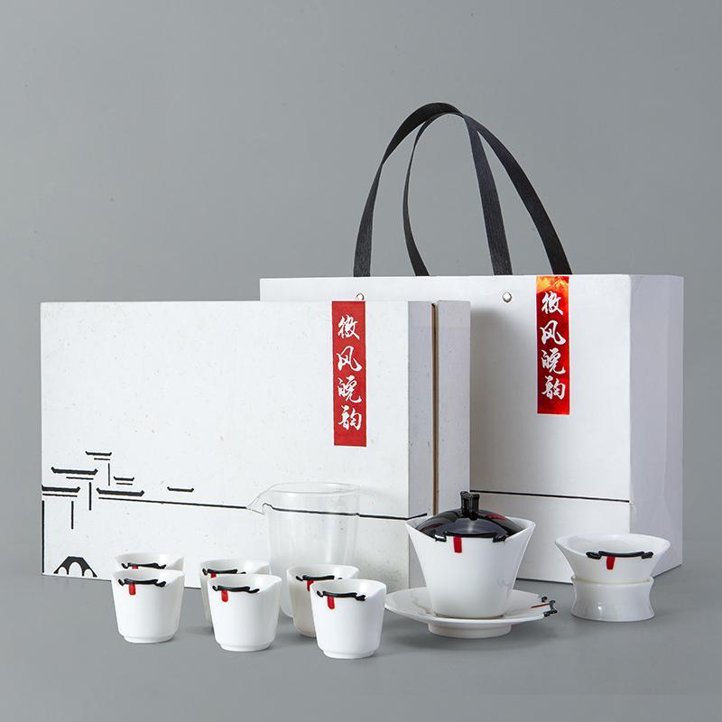 【古时候】瓷器江南白系列家用陶瓷创意功夫茶具套装G27