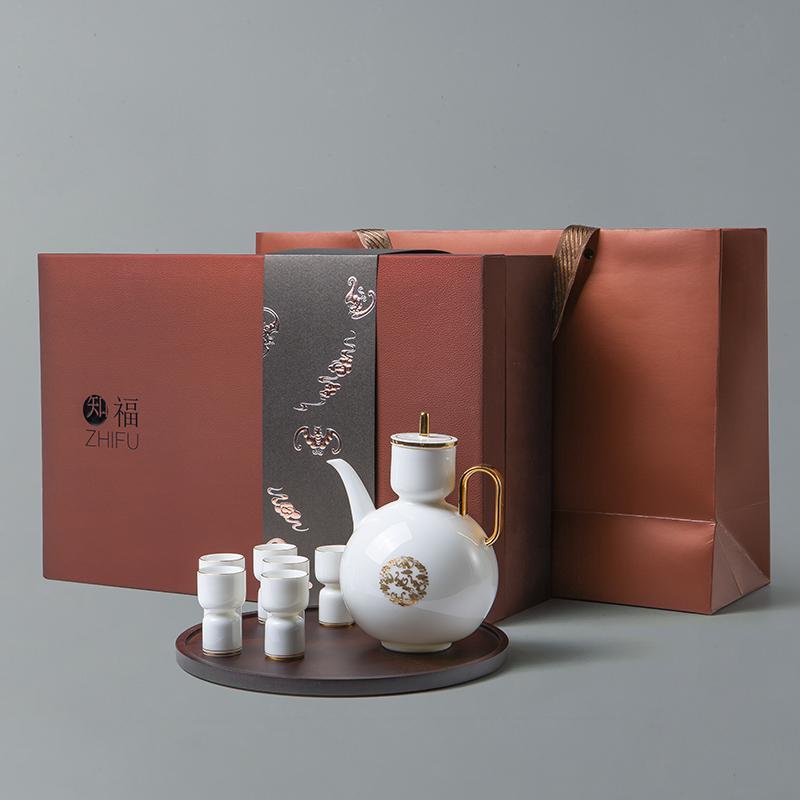 【古时候】瓷器知福系列北欧宫廷风羊脂玉白瓷烫金茶具G77