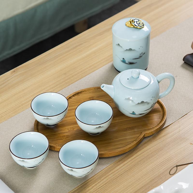 【古时候】瓷器自在系列国潮自在古风茶具壶茶叶罐四杯礼盒G106