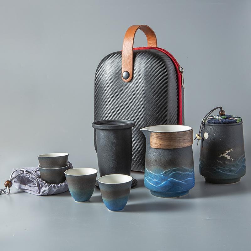 【古时候】浔鹿瓷器创意旅行便携水墨画功夫茶具礼盒套装G63