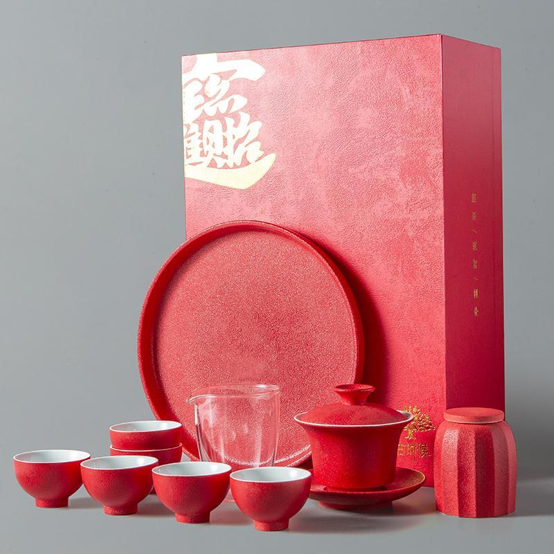 【古时候】陶瓷功夫茶具套装礼盒茶壶杯子公道杯茶叶罐一炮而红系列G72