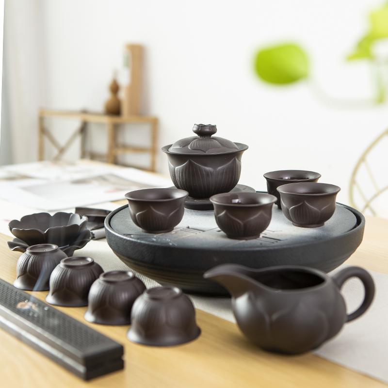 【古时候】瓷器紫砂盖碗茶器茶具套组紫砂G85