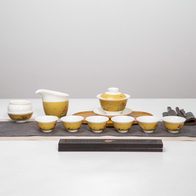 【古时候】瓷器白瓷手工描绘描彩盖碗功夫茶具套组G88