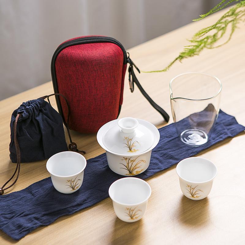 【古时候】瓷器便携旅行茶具盖碗功夫茶具白瓷三杯玻璃公道杯G129