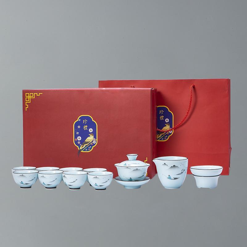 【古时候】瓷器自在系列盖碗功夫茶具套组礼盒茶具套装G06