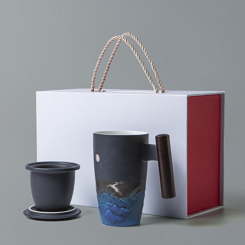 【古时候】瓷器办公室居家陶瓷泡茶过滤同心马克杯水涧麋鹿系列G70