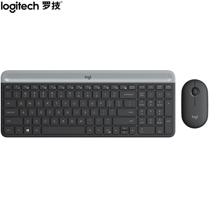 【罗技】 键鼠套装无线键鼠套装超薄全尺寸静音带无线2.4G接收器 MK470