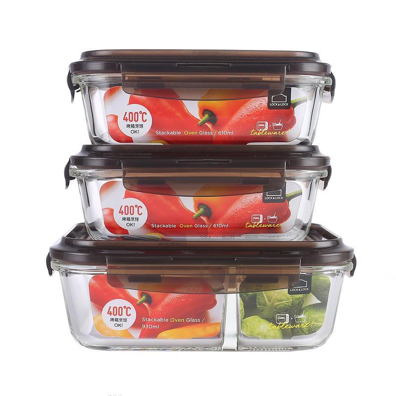 【乐扣乐扣】玻璃饭盒套装微波炉便携耐热保鲜盒耐热玻璃饭盒3件套 LLG991CS101-OCH