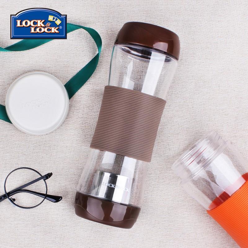 【乐扣乐扣】便携运动水杯茶水分离杯水杯茶杯塑料杯含过滤网隔热杯套570ml HLC820TBG/TGG/TGR