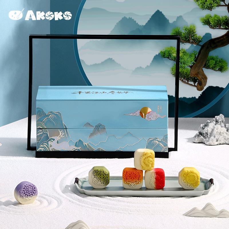 【AKOKO】中秋节流心奶黄月饼千里江山月饼礼盒装