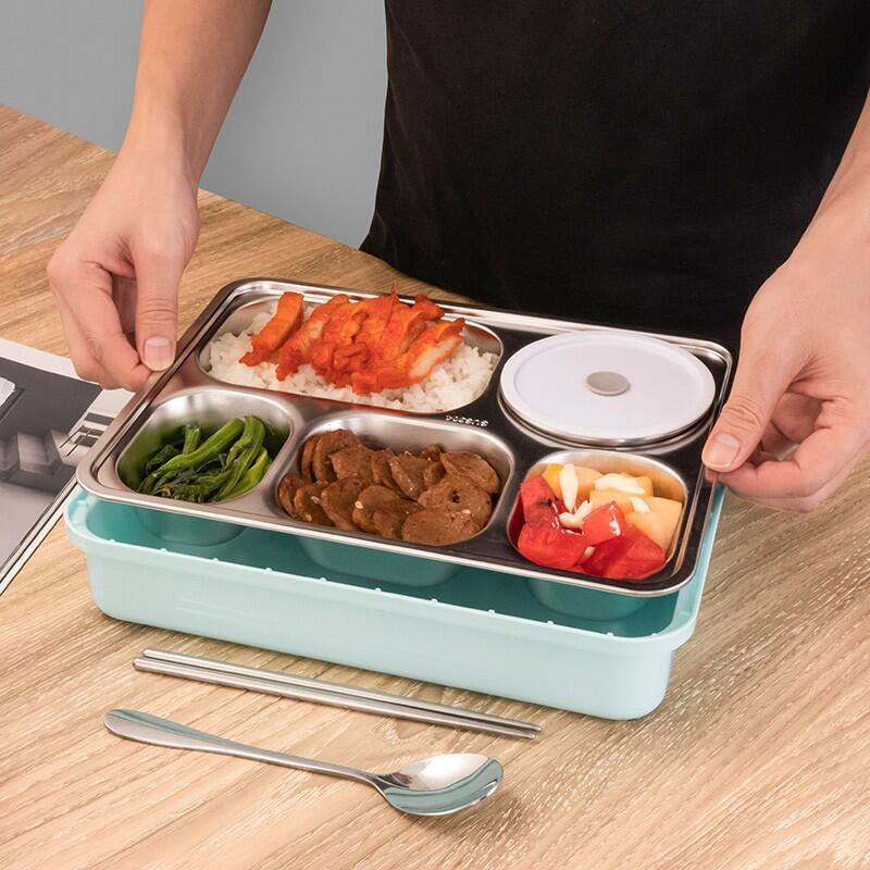 【德铂】Debo迪亚斯便携饭盒五格大容量不锈钢餐盘DEP-737