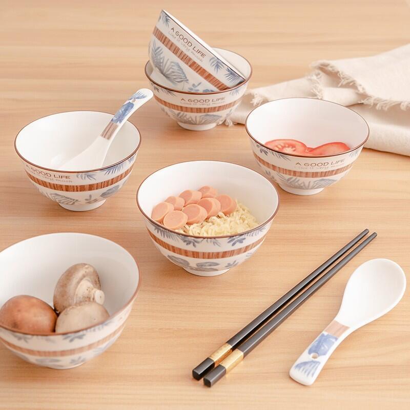 【德铂】Debo卡梅拉餐具套装家用陶瓷碗筷勺子套装12件DEP-768