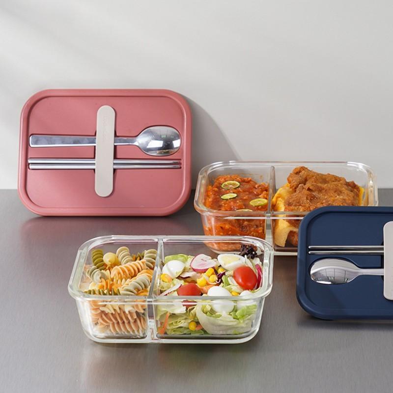 【乐扣乐扣】分隔带餐具玻璃保鲜盒耐热玻璃便当餐盒带餐具930ML LLG991CLPIK  /CLNVY