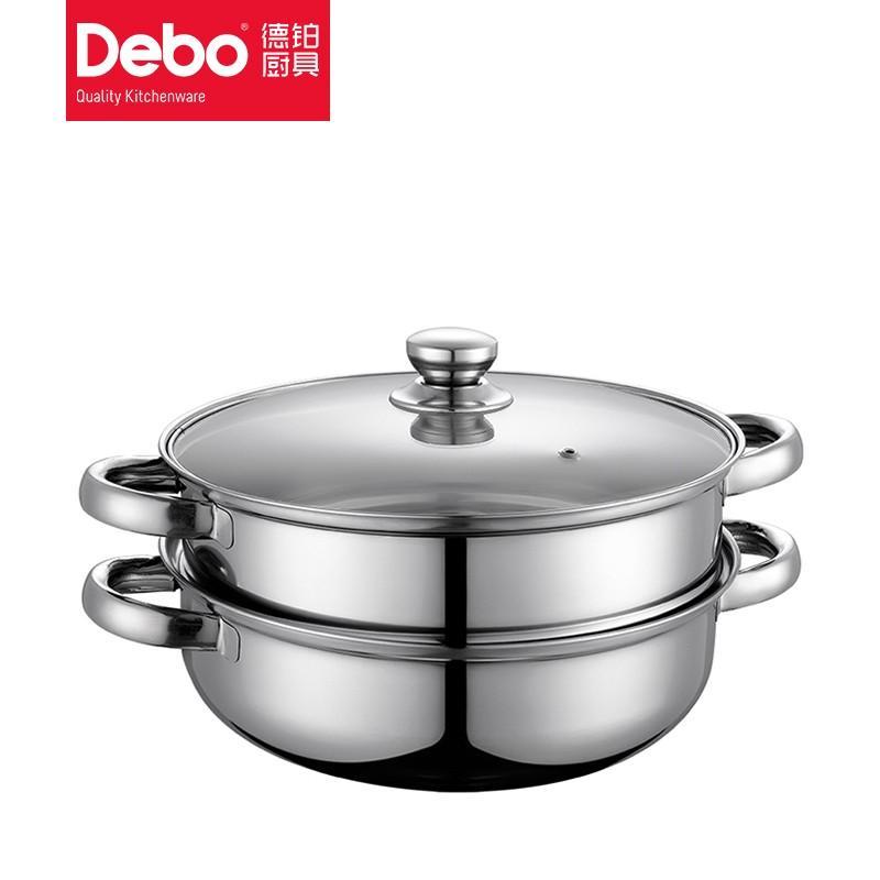 【德铂】Debo路卡斯汤锅蒸锅多用锅不锈钢锅燃气电磁炉通用可视锅盖DEP-33