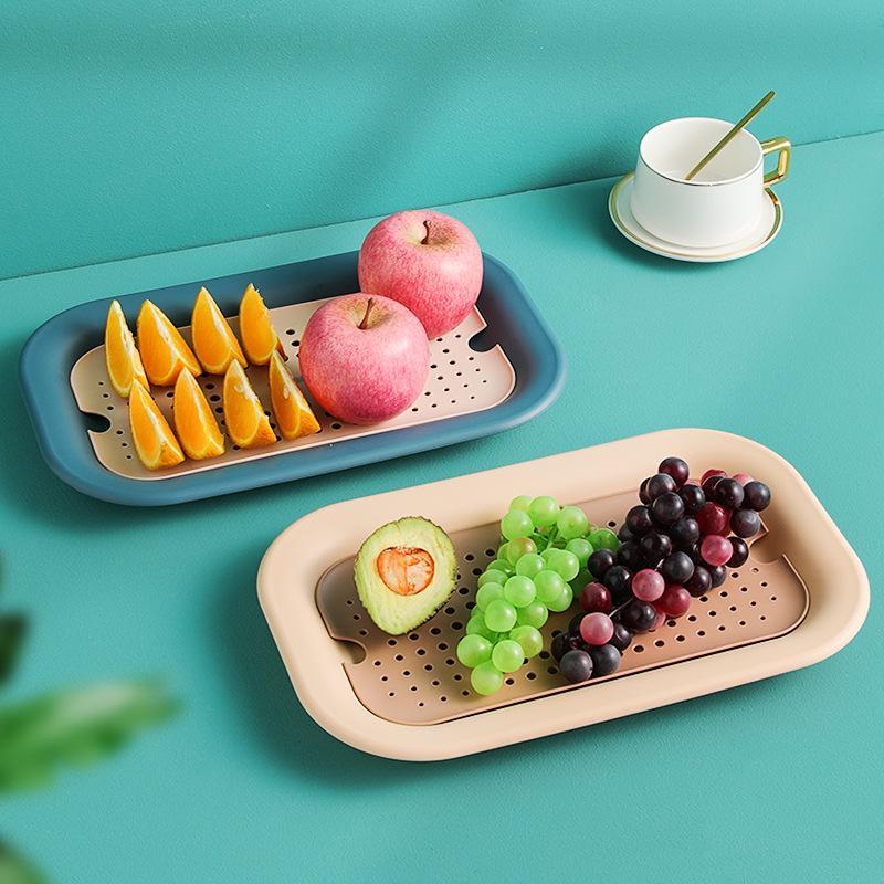 双层沥水果盘家用长方形茶杯水杯托盘水果蔬菜清洗沥水托盘置物篮