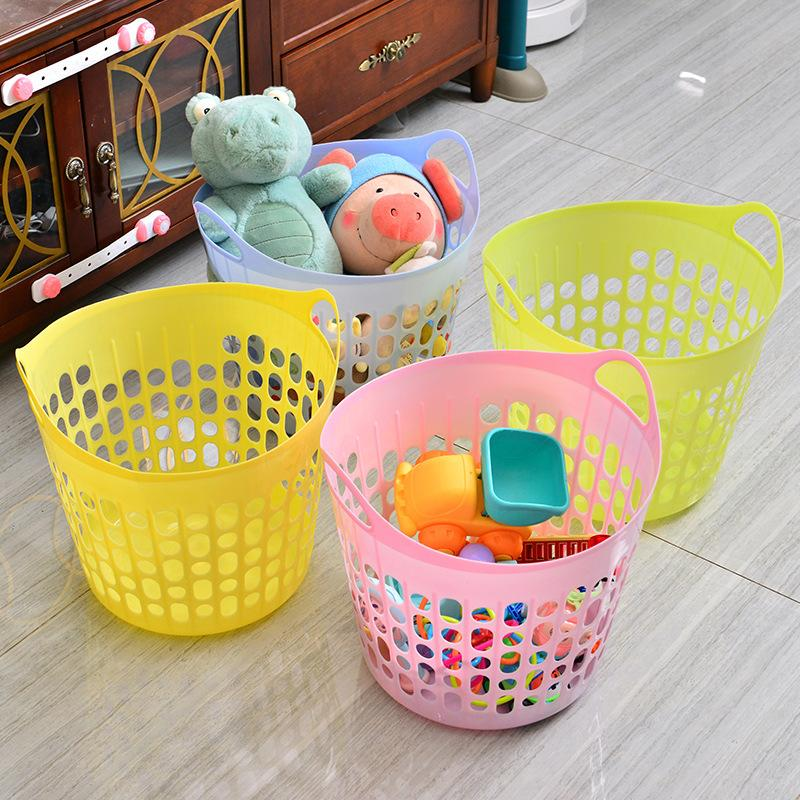 多功能时尚脏衣收纳筐厨房塑料篮手提镂空收纳篮