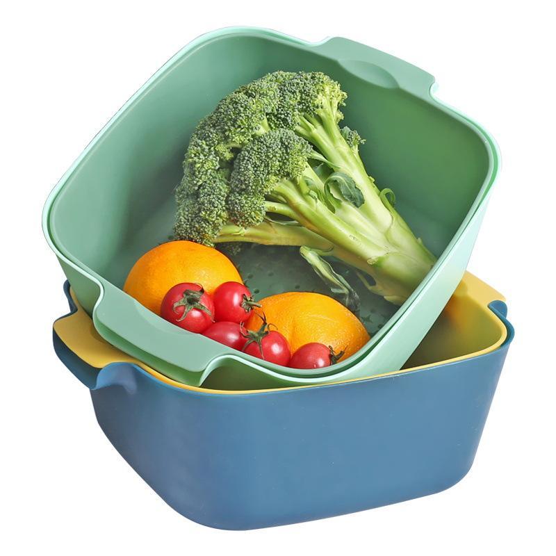 优质双层沥水篮洗菜篮便携塑胶镂空沥水淘米洗菜专用蓝