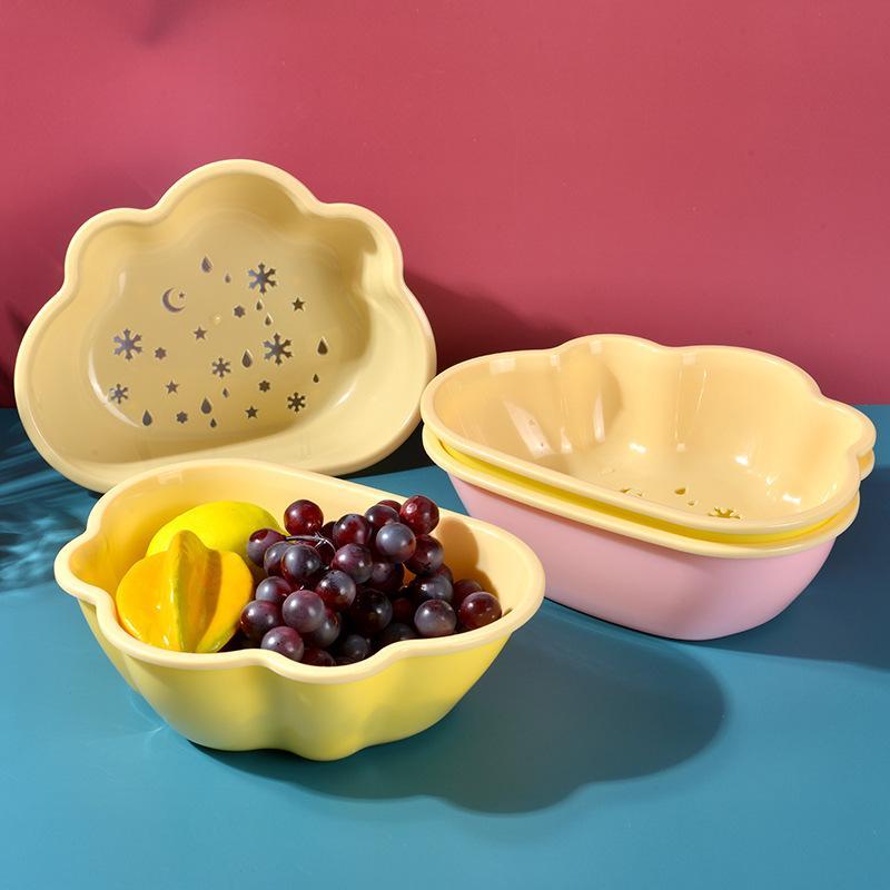 果盘双层塑料沥水篮厨房洗菜淘米篮礼品盆水果盘收纳篮洗菜篮