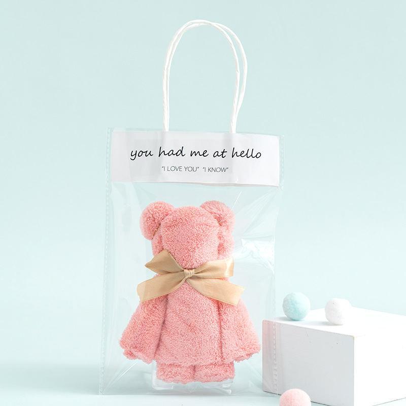 INS风格高密珊瑚绒方巾小熊手提礼品可以刺绣LOGO吸水日系素色