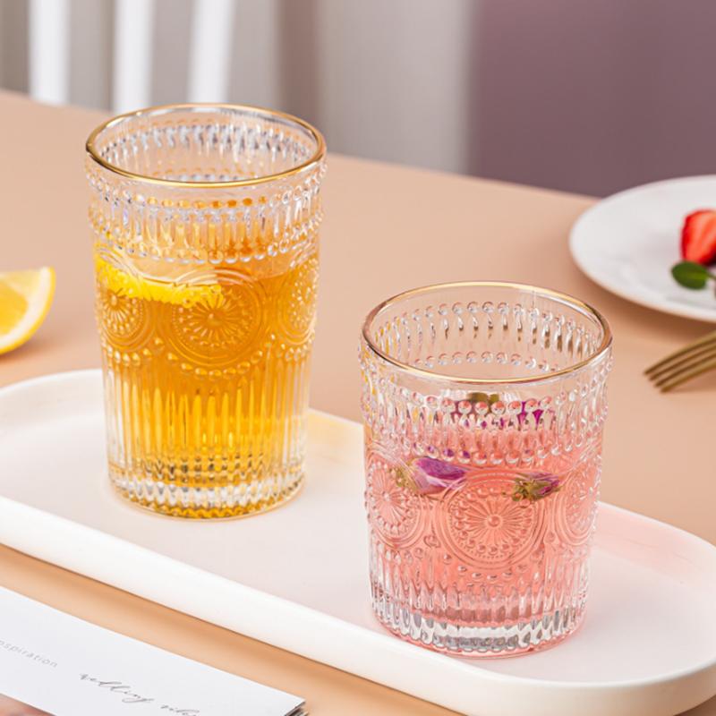 太阳花玻璃杯北欧风复古浮雕金边玻璃杯太阳花水杯冷饮杯